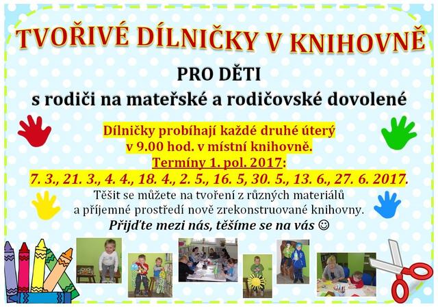 Tvořivé dílničky v knihovně - termíny 1. pol. 2017