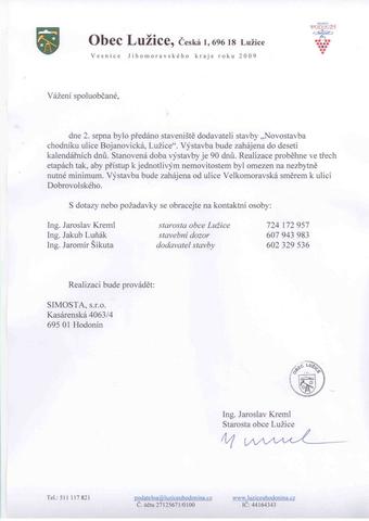 Informace - Novostavba chodníku ulice Bojanovická, Lužice