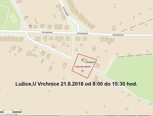 Oznámení o přerušení dodávky elektrické energie - 21. 8. 2018