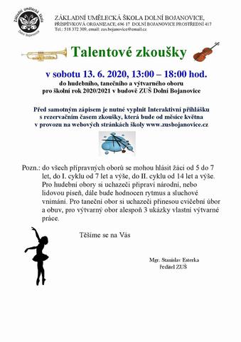 ZUŠ Dolní Bojanovice - talentové zkoušky