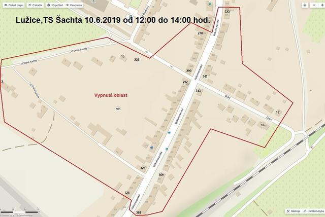 Oznámení o přerušení dodávky elektrické energie - TS Stará šachta, 10. 6. 2019