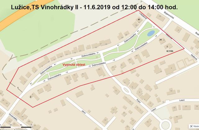 Oznámení o přerušení dodávky elektrické energie - TS Vinohrádky II, 11. 6. 2019