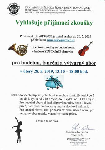 Dolní Bojanovice - přijímací zkoušky do ZUŠ